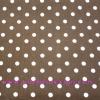 ผ้า Cotton พิมพ์ลาย สำหรับทำงานฝีมือ หรือบุชิ้นงาน - ลาย Polka Dot จุดขาวบนพื้นน้ำตาล โทนน้ำตาล