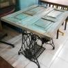 โต๊ะขาจักรท็อปไม้สัก