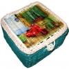 กล่องเก็บของทำจากหวาย ฝากระดุม ลายเวสป้าสีแดงที่บ้านริมทะเล