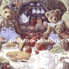 กระดาษสาพิมพ์ลาย rice paper เป็น กระดาษสา สำหรับทำงาน เดคูพาจ Decoupage แนวภาพ หมี เท้ดดี้ แบร์ teddy bear พ่อ แม่ ลูก มาปิคนึิครับลมร้อนในสวนสาธารณะ (pladao design)