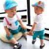 ชุดแฟชั่นเด็ก 2 ชิ้น เสื้อขาวลายปลา มีสายคล้ายเอี้ยม กางเกงสีเเขียวน่ารัก สไตล์เกาหลี(เด็ก 6 เดือน-3ขวบ ค่ะ)