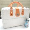 ชิ้นงานดิบ พลาสติกสาน ทำ Decoupage งานเพนท์ กระเป๋าเดินทาง ขนาดกลาง สีขาว หูหนัง สีส้ม M
