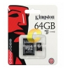 Micro SD 64GB Kingston (SDCX10V, Class 10)