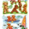 กระดาษตัดสำเร็จ ลายนูน ภาพเดี๋ยว แนววินเทจ เจ้าหมีน้อยเท็ดดี้แบร์ กับ หมีแพนด้า กับ กิจกรรม กีฬา ต่างๆ