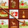 แนวภาพท่องเที่ยว ภาพสัตว์ ธง บ้าน ของพื้นเมือง ในกรอบเล็กๆ ประเทศสวิตเซอร์แลนด์ ภาพโทนสีน้ำตาล เป็นภาพแนวยาว กระดาษแนพกิ้นสำหรับทำงาน เดคูพาจ Decoupage Paper Napkins ขนาด 33X33cm
