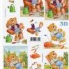 กระดาษ 3D สร้างลายนูน หมีน้อยนั่งจิบเบียร์ในสวน มี 2 ภาพ ขนาด A4