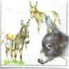 แนวภาพสัตว์ ลายเส้นลงสีลา ภาพโทนสีขาว เป็นภาพแนวยาว กระดาษแนพกิ้นสำหรับทำงาน เดคูพาจ Decoupage Paper Napkins ขนาด 33X33cm