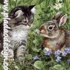 กระดาษสาพิมพ์ลาย สำหรับทำงาน เดคูพาจ Decoupage แนวภาำพ แมวขนเทา ขนยาว ขนนุ่ม แอบหลบมุม มาเล่นกับกระต่ายตัวป้อม
