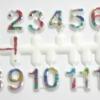 ชุดตัวเลขสำหรับประกอบนาฬิกา สีรุ้งขอบขาว ตัวเลขสูง 9มม อุปกรณ์ DIY