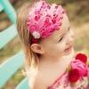 ผ้าคาดผมสาวน้อยแต่งขนนกชมพู ประดับดอกไม้-คริสตัล น่ารักมากๆ