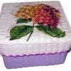 กล่องเก็บของ กล่องของขวัญ ผักตบชวาทรงจตุรัส แบบฝาครอบ ลายดอกไฮเดรนเยียสุดหวาน