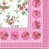 แนวภาพลายแต่ง ดอกไม้ดอกเล้กภาพกระจายพื้นขาว ในกรอบสีชมพู เป็นกระดาษเต็มแผ่น กระดาษแนพคินสำหรับทำงาน เดคูพาจ Decoupage Paper Napkins เป็นภาพ 4 บล๊อค ขนาด 25X25 ซม