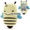 3D Cute Bumble Smile Bee Flexible Silicone Case Cover for iPhone 5S - Yellow