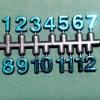 ชุดตัวเลขสำหรับประกอบนาฬิกา สีฟ้าขอบดำ ตัวเลขสูง 9มม อุปกรณ์ DIY