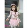 ชุดเดรสเด็กแขนยาว สีขาวลายดอกกุหลาบ มีดอกที่อก น่ารักสไตล์เกาหลี ขนาด100