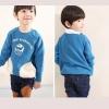 เสื้อกันหนาวแฟชั่นเด็กสีฟ้า เก๋มาก น่ารักสไตล์เกาหลี ( ผ้าสำลีขูดขน )