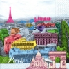 แนวภาพท่องเที่ยว เมืองปารีส ภาพโทนกราฟฟิคย้อมสี เป็นภาพ 4 บล๊อค กระดาษแนพกิ้นสำหรับทำงาน เดคูพาจ Decoupage Paper Napkins ขนาด 33X33cm