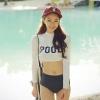 ชุดว่ายน้ำแขนยาวสีขาว สกรีนอักษร POOL กางเกงบิกินี่สีน้ำเงินกรมท่า