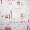 ผ้า Cotton พิมพ์ลาย สำหรับทำงานฝีมือ หรือบุชิ้นงาน - ลาย Kitchen Item โทนแดง