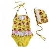ชุดว่ายน้ำเด็ก VIVO BINIYA สีเหลือง ลายดอกไม้ พร้อมหมวก