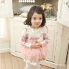 Huanshu kids ชุดเดรสเด็กแขนยาว สีชมพู มีตกแต่งระบายที่คอเสื้อ กระโปรงตกแต่งด้วยลูกไม้ น่ารักสไตล์เกาหลี -ขนาด140