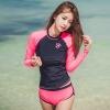 [พร้อมส่ง] ชุดว่ายน้ำแขนยาว กางเกงขาสั้นสีชมพูบานเย็นสวยๆ