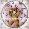 กระดาษเดคูพาจพิมพ์ลาย สำหรับทำงาน เดคูพาจ Decoupage งานฝีมือ งาน Handmade แนวภาพ น้องหมี เท็ดดี้ แบร์ teddy bear ผู้ควบคุมเวลา ถือเข็มสั้นเช็มยาวเตรียมประกอบนาฬิกา (pladao design)