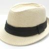 ชิ้นงานดิบ เส้นใยธรรมชาติ ทำ Decoupage งานเพนท์ หมวกผ้าทอปีกสั้น สีครีมคาดดำ
