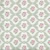 แนวภาพ ลายดอกไม้ ในกรอบล้อมสีเขียวหวาน บนพื้นขาว เป็นภาพกระจายเต็มแผ่น กระดาษแนพกิ้นสำหรับทำงาน เดคูพาจ Decoupage Paper Napkins ขนาด 33X33cm