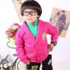 huanshu kids เสื้อกันหนาวแฟชั่นเด็ก สีชมพูสดใส มีอาร์มรูปตัว ซี ที่อก มีกระเป๋า2ข้าง แบบเก๋มากขนาด110,130