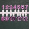 ชุดตัวเลขสำหรับประกอบนาฬิกา สีชมพูขอบขาว ตัวเลขสูง 9มม อุปกรณ์ DIY