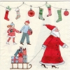 แนวภาพ Chirstmas Christmas Tree & Santa เป็นภาพแนวยาว กระดาษแนพกิ้นสำหรับทำงาน เดคูพาจ Decoupage Paper Napkins ขนาด 33X33cm