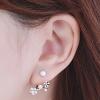 WT084 ตุ้มหู ต่างหูสีเงิน ทรงสวย ประดับด้วยเพชร และมุก สวย น่ารัก แบบแป้นเสียบคะ