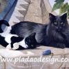 กระดาษสาพิมพ์ลาย สำหรับทำงาน เดคูพาจ Decoupage แนวภาำพ ลูกแมวดำขาวตัวน้อยนอนอิงแม่แมวตัวดำหลังจากเล่นตุ๊กตาหนูจนเหนื่อย