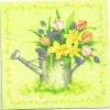 แนวภาพดอกไม้ ดอกไม้ในบัวรดน้ำ ในกรอบดอกไม้ ภาพโทนสีเขียว เป็นภาพ 4 บล๊อค กระดาษแนพกิ้นสำหรับทำงาน เดคูพาจ Decoupage Paper Napkins ขนาด 33X33cm กระดาษรุ่นพิเศษ