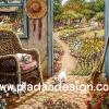 กระดาษอาร์ทพิมพ์ลาย สำหรับทำงาน เดคูพาจ Decoupage แนวภาพ บ้านและสวน แมวน้อย ในบ้านวิวสวนดอกไม้ (ปลาดาวดีไซน์)