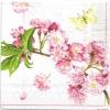แนวภาพดอกไม้ ช่อดอกไม้สีชมพู บนพื้นครีมอ่อน กระดาษลายเต็มแผ่น กระดาษแนพกิ้นสำหรับทำงาน เดคูพาจ Decoupage Paper Napkins ขนาด 33X33cm