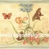 กระดาษสาพิมพ์ลาย สำหรับทำงาน เดคูพาจ Decoupage แนวภาำพ ภาพวาดสีหวาน ผีเสื้อ 3 ตัว บินวนเวียนรอบดอกไม้ 3 สีในกรอบแบบหลุยส์ (ปลาดาวดีไซน์)