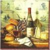 แนวภาพไวน์ ขวดไวน์กับขนมปังบนโต๊ะอาหาร กระดาษแนพกิ้นสำหรับทำงาน เดคูพาจ Decoupage Paper Napkins ทีภาพ 4 ชุด 25X25 ซม