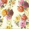 แนวภาพดอกไม้ เป็นช่อดอกไม้ 3 ช่อ บนพื้นสีครีม เป็นภาพกระจายเต็มแผ่น กระดาษแนพกิ้นสำหรับทำงาน เดคูพาจ Decoupage Paper Napkins ขนาด 33X33cm