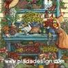 กระดาษสาพิมพ์ลาย สำหรับทำงาน เดคูพาจ Decoupage แนวภาำพ บ้านและสวน ชั้นวางดอกไม้ ไม้ดอกไม้ประดับ สีสันสดสวย กลางแจ้ง (ปลาดาวดีไซน์)