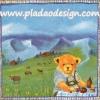 กระดาษสาพิมพ์ลาย สำหรับทำงาน เดคูพาจ Decoupage แนวภาพ หมี Teddy หมีหนุ่มนั่งทานอาหาร บนทุ่งหญ้าเขียว วิวภูเขาโทนฟ้า