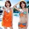 [พร้อมส่ง] ชุดว่ายน้ำเซ็ต 3 ชิ้น สีส้มสดใส แต่งลายเส้นสวยสุดๆ (บรา+บิกินี่+ชุดแซก)