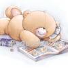 กระดาษสาพิมพ์ลาย สำหรับทำงาน เดคูพาจ Decoupage แนวภาำพ ภาพวาด ภาพแนวการ์ตูน น้องหมี ฮอลล์มาร์ค Hallmarks bear น้องหมีนอนคุยโทรศัพท์ไป อ่านการ์ตูนเรื่องหมีๆไป อย่างมีความสุข (ปลาดาวดีไซน์)