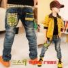 hunazhu kids กางเกงยีนส์เด็ก ตกแต่งด้านหลังเทห์ๆ สไตล์เกาหลี
