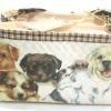 กระเป๋าสะพายใบลานทรงเหลี่ยม สองซิป ลายน้องหมา