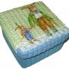 กล่องเก็บของผักตบชวาทรงจตุรัส แบบฝาครอบ ลายกระต่ายคู่พ่อลูก