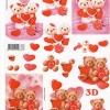 กระดาษ 3D สร้างลายนูน หมีน้อยคู่รัก กับหัวใจแดงหวาน 2 ภาพ ขนาด A4