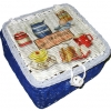 กล่องเก็บของทำจากหวาย ฝากระดุม ลายอาหารเช้า
