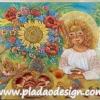 กระดาษสาพิมพ์ลาย สำหรับทำงาน เดคูพาจ Decoupage แนวภาำพ สีสันสดใส สไตล์อา์ร์ตอาร์ต น้องสาวคนสวยใส่หมวกใบใหญ่กะดอกไม้ดอกโต